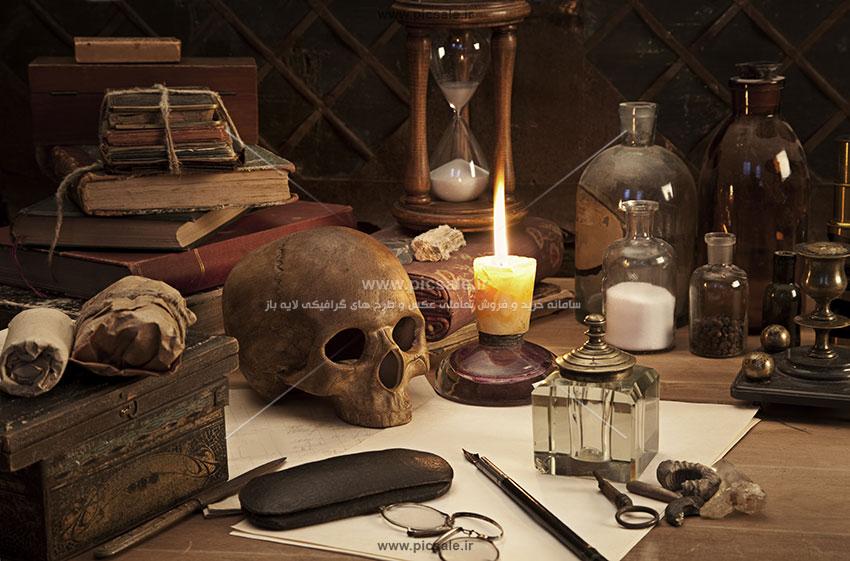 00515 - ابزار جادو و جادوگری با جمجمه انسان
