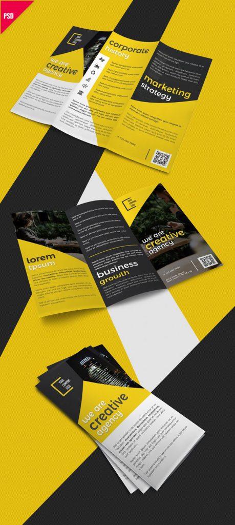 p385 459x1024 - لایه باز بروشور سه لت کاتالوگ خلاقانه معرفی خدمات شرکت تجاری بازرگانی به رنگ زرد