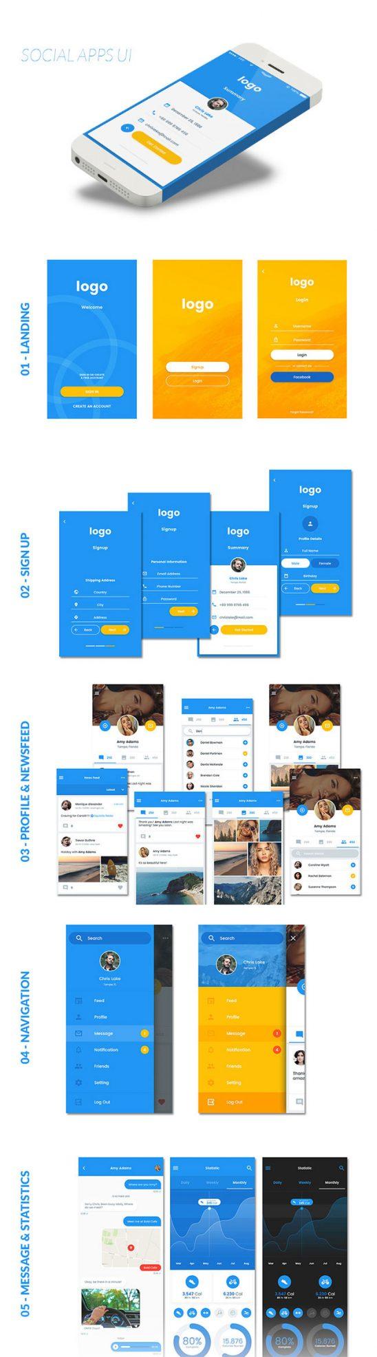 p513 548x1973 - لایه باز گرافیک اپلیکیشن (تعاملی - شبکه اجتماعی) اینترفیس موبایل UX و UI اندورید و ios با آیکون های کاربردی و متنوع