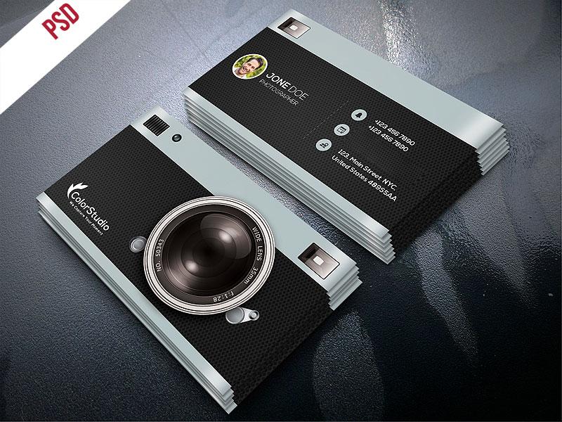 p515 - لایه باز کارت ویزیت شخصی عکاس بسیار شیک و مدرن خلاقانه ویژه استودیو های عکاسی دیجیتال و آتلیه ها
