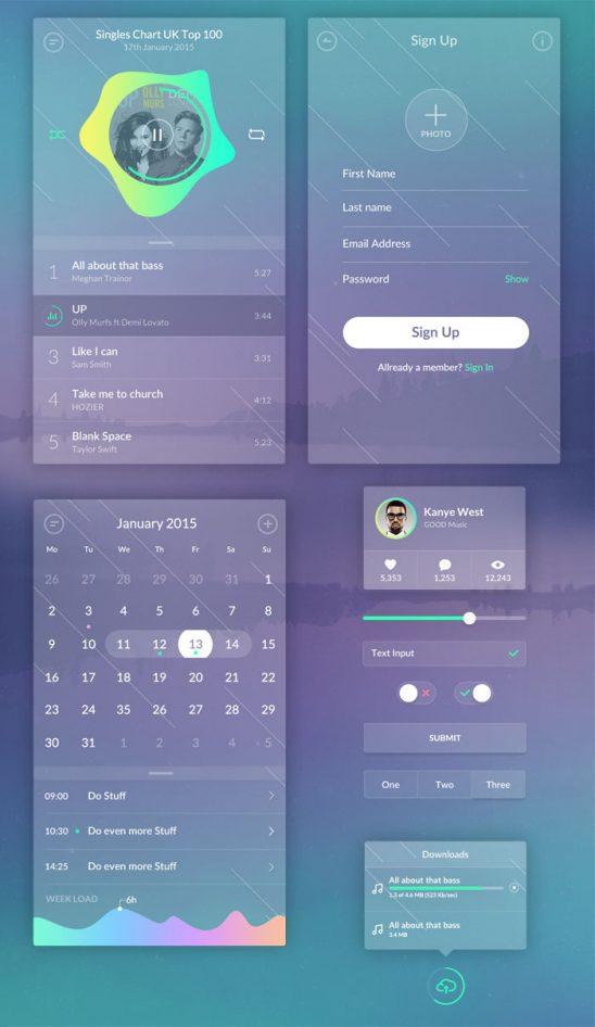 p517 548x946 - لایه باز اپلیکیشن موسیقی شیشه ای با آیکون های تنظیم صدا / گرافیک بارانی اینترفیس UX و UI موبایل اندورید و ios با آیکون های کاربردی و متنوع