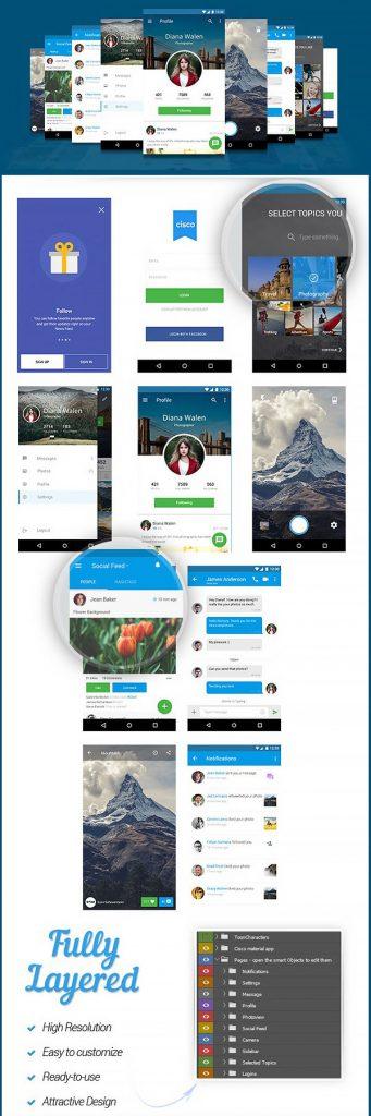 p549 341x1024 - طرح آماده اپلیکیشن شبکه اجتماعی فوق العاده زیبا / اینترفیس UX و UI موبایل اندورید و ios با صفحات کاربردی و متنوع