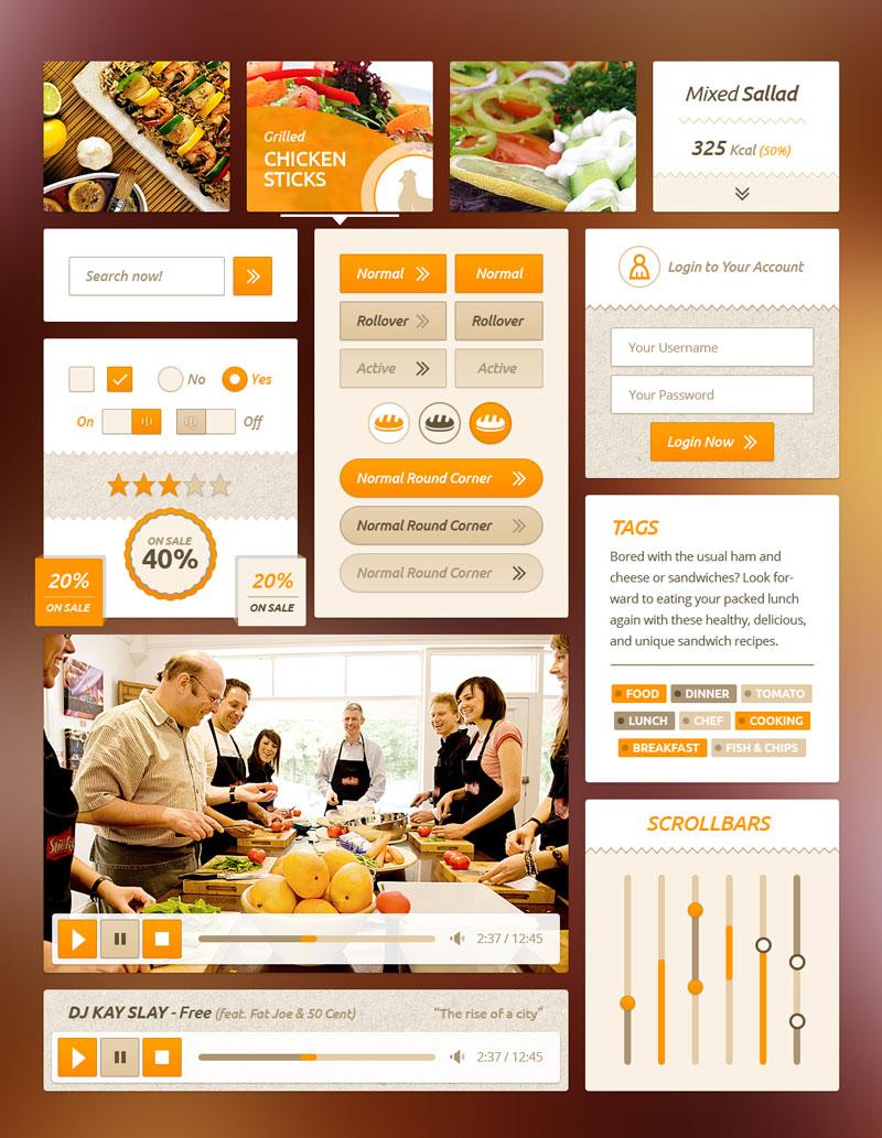 p550 - لایه باز اپلیکیشن آشپزی با آیکون های مرتبط / گرافیک آشپزی اینترفیس UX و UI موبایل اندورید و ios با صفحه های کاربردی و متنوع