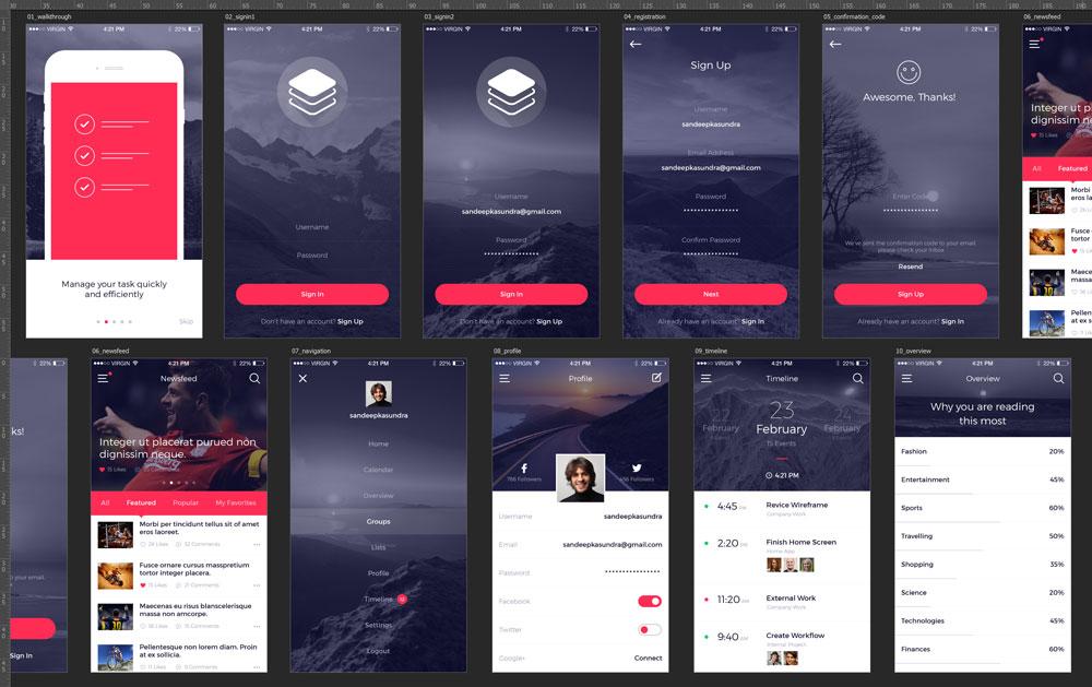 p551 - لایه باز گرافیک اپلیکیشن شبکه اجتماعی فوق العاده زیبا / اینترفیس UX و UI موبایل اندورید و ios با صفحات کاربردی و متنوع
