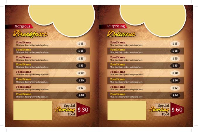 m254 - دانلود لایه باز تراکت یا پوستر منوی رستوران،کافه،اغذیه فروشی،کافی شاپ