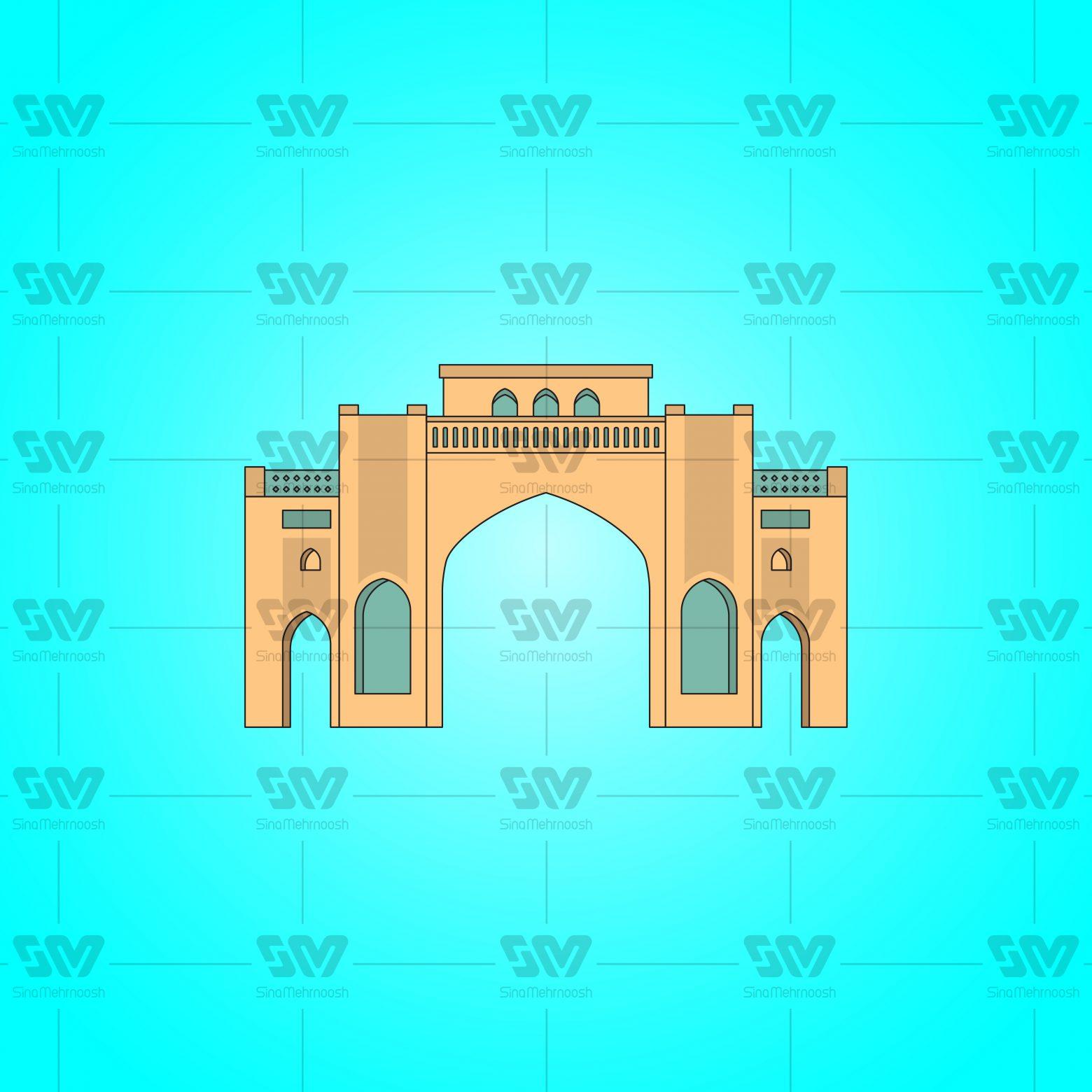 دروازه قرآن 01 1560x1560 - وکتور فایل لایه باز دروازه قرآن شیراز