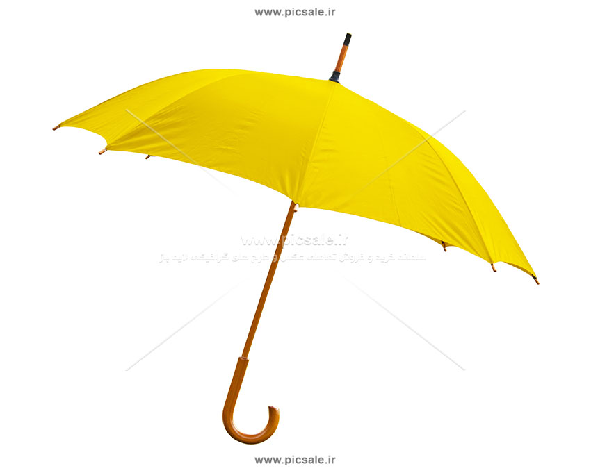 00212 - چتر زرد با دسته چوبی