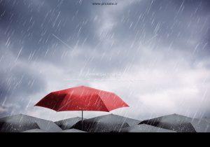 00225 300x210 - چترهای مشکی / سیاه ، قرمز و باران