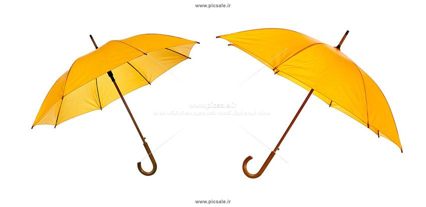 00243 - دو چتر زرد زیبا با دسته چوبی