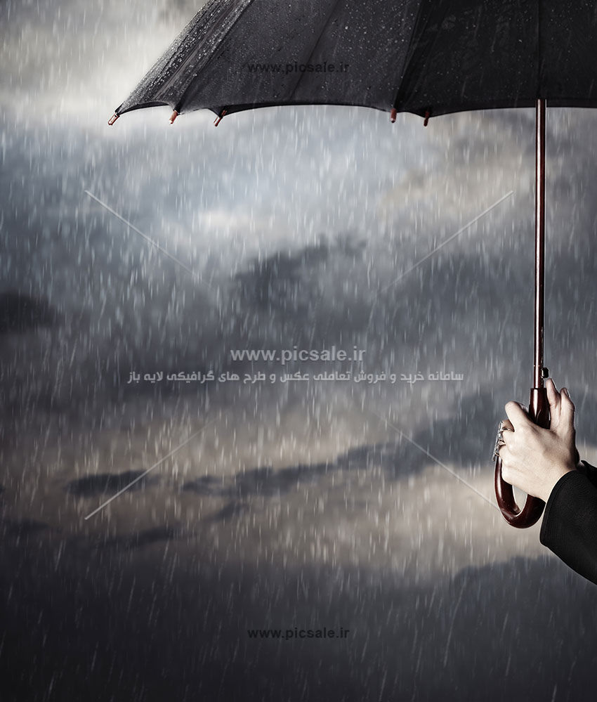 00248 - چتر مشکی یا سیاه در باران