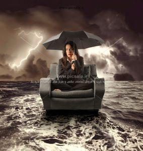 00250 284x300 - خانم یا زن با چتر مشکی / سیاه در هوای ابری