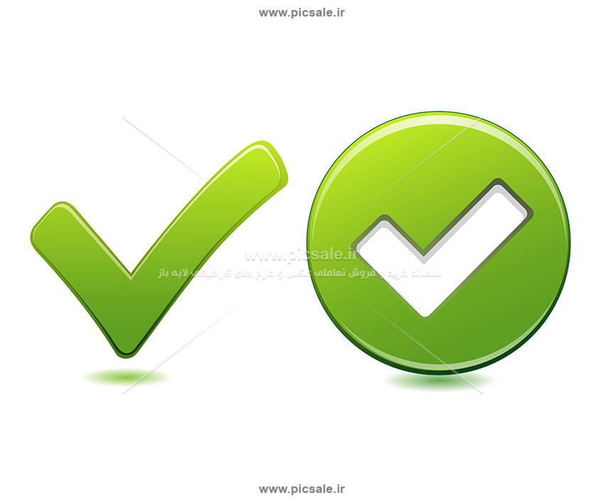 00528 - تیک سبز سه بعدی 3d چک لیست / آیکون تیک