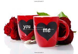 00892 300x206 - لیوان با طرح قلب و گل رز