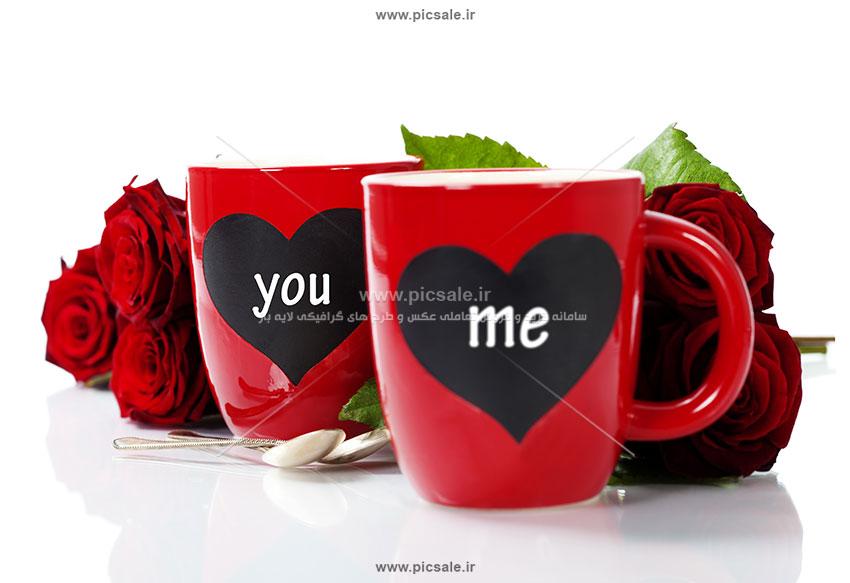 00892 - لیوان با طرح قلب و گل رز