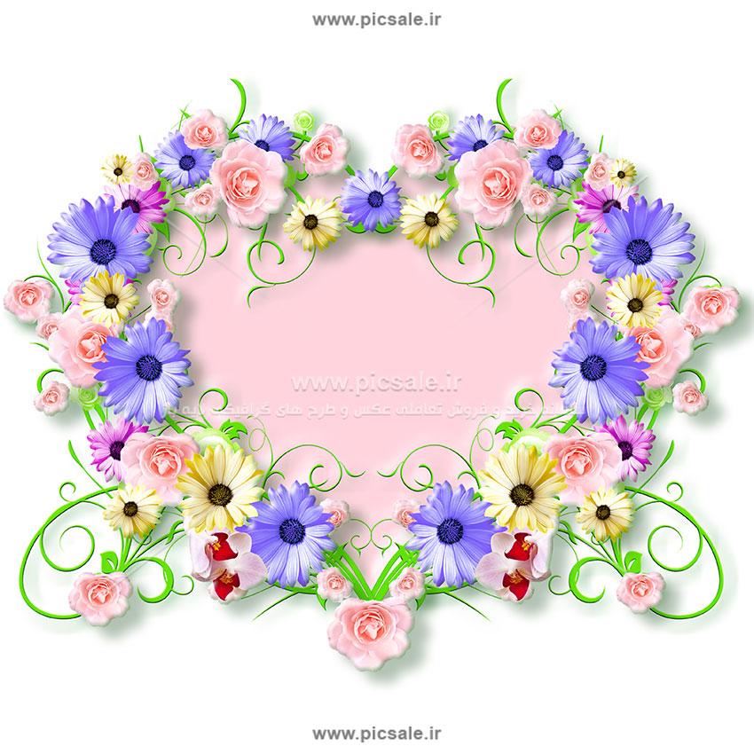 00897 - قلب با گلهای زیبا