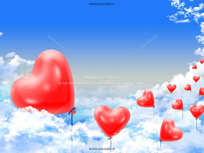 00916 - بادکنک های قلبی زیبا در آسمان