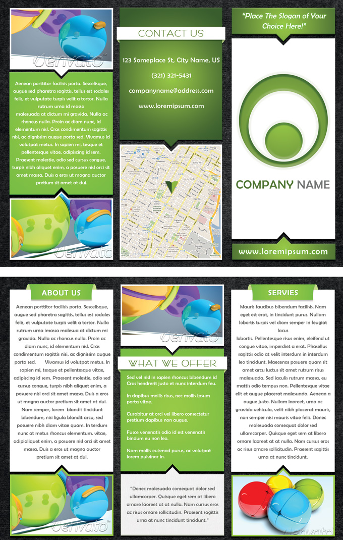 p215 psd - لایه باز بروشور کاتالوگ سه لت تجاری با رنگ سبز