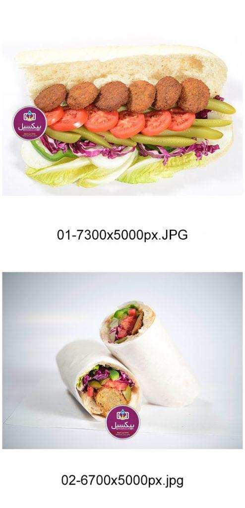 p311 494x1024 - عکس با کیفیت ساندویچ فلافل با گوجه کلم کاهو