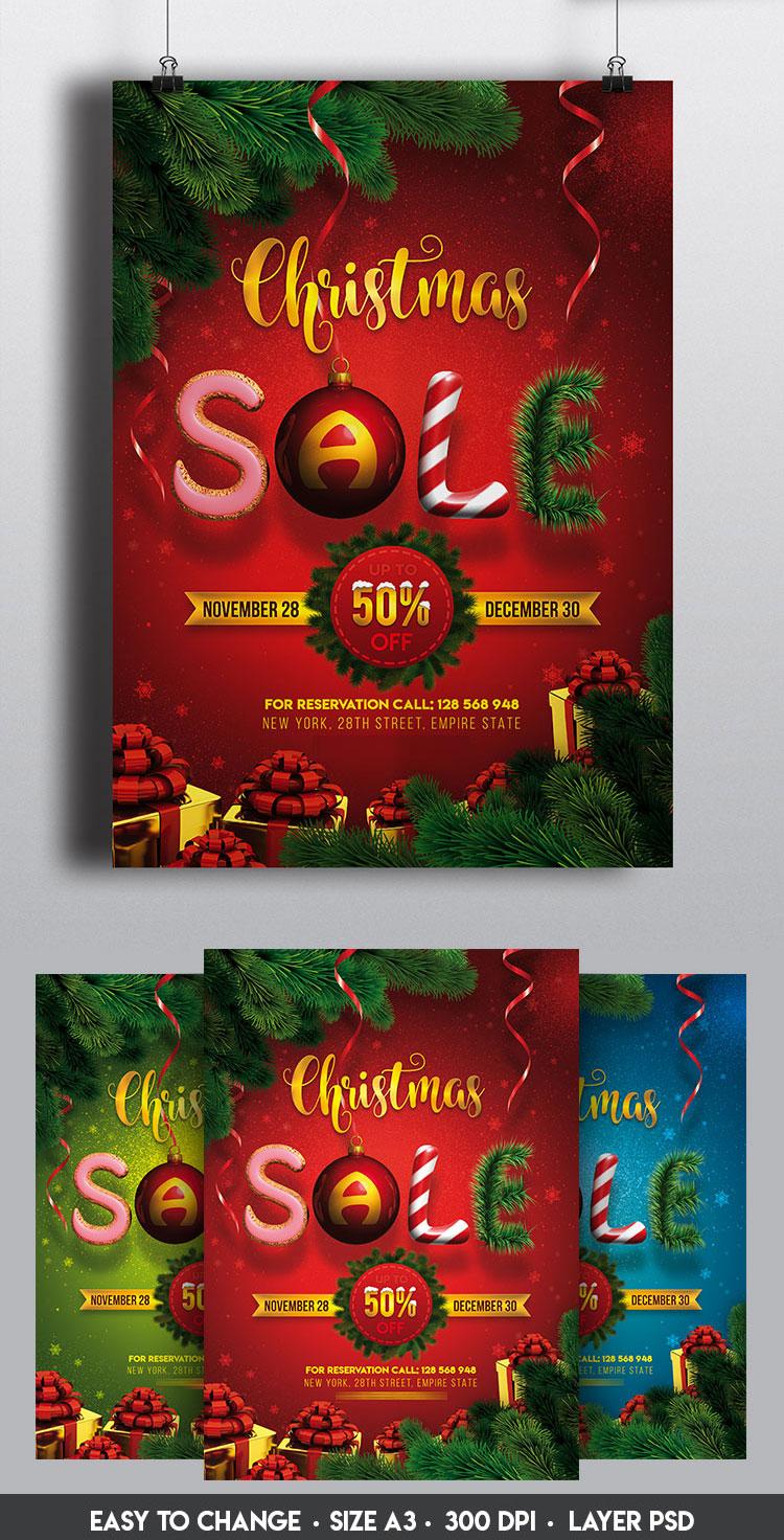 p364 - لایه باز پوستر جشنواره فروش زمستانی کریسمس