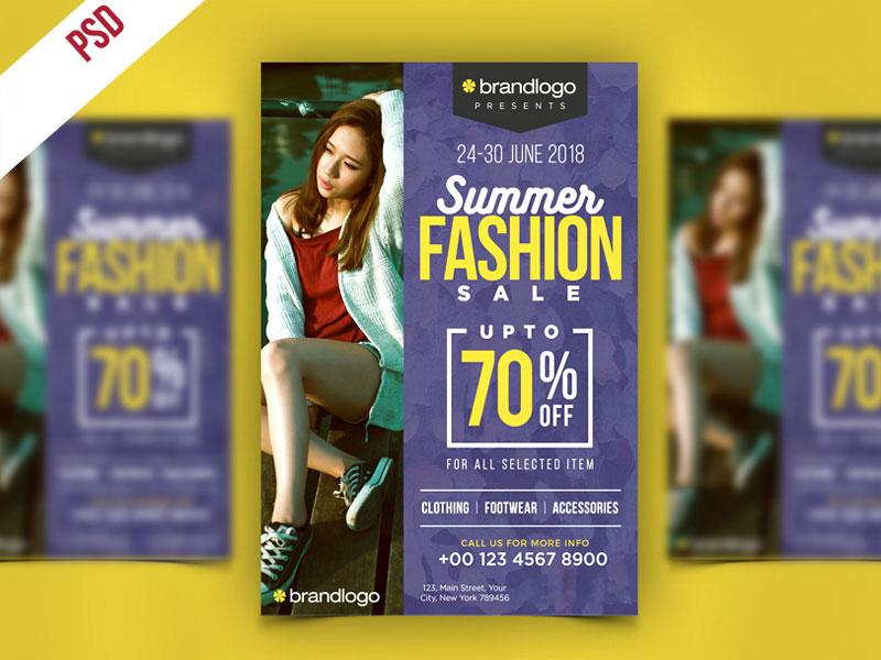 p396 - لایه باز پوستر جشنواره تابستانه مد و لباس - فشن با درج تخفیف