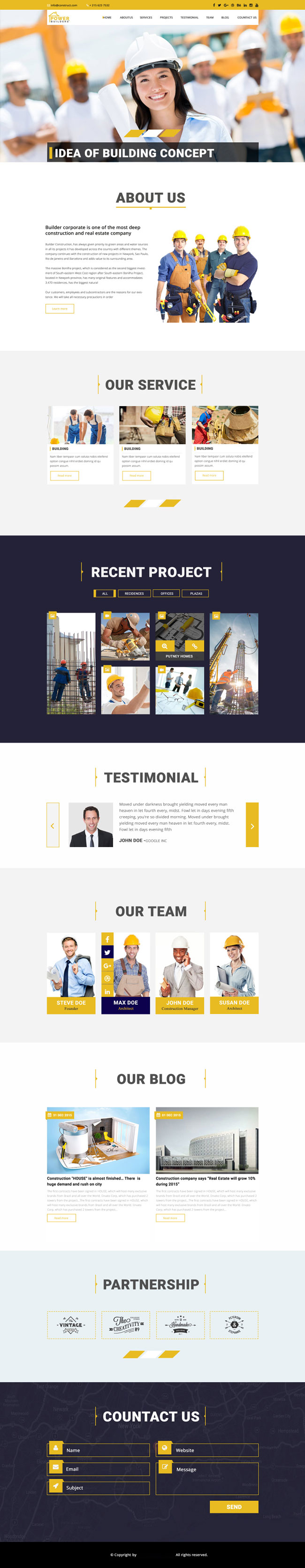 p401 - قالب آماده لایه باز وب سایت تک صفحه ای فنی مهندسی و ساختمانی