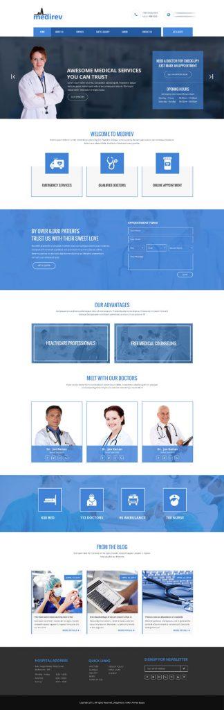 p407 324x1024 - طرح آماده وب سایت تک صفحه ای پزشکی بیمارستانی بسیار زیبا