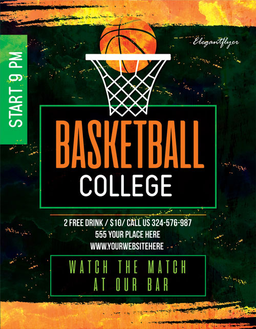 p442 - طرح آماده پوستر ورزشی مسابقات بسکتبال سالن با تور توپ بسکتبال