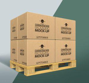 p453 300x281 - لایه باز موکاپ کارتن مقوایی چیده شده روی پالت ویژه بسته بندی محصولات تجاری