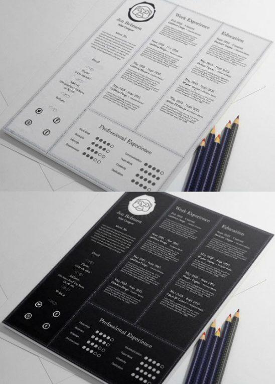 p461 548x766 - لایه باز رایگان قالب رزومه شخصی در دو تم رنگی بسیار کاربردی با بخش های مختلف جهت معرفی توانمندی ها