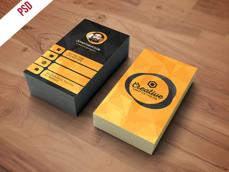 p479 - لایه باز کارت ویزیت خلاقانه زرد و مشکی بسیار زیبا بصورت ایستاده (عمودی)