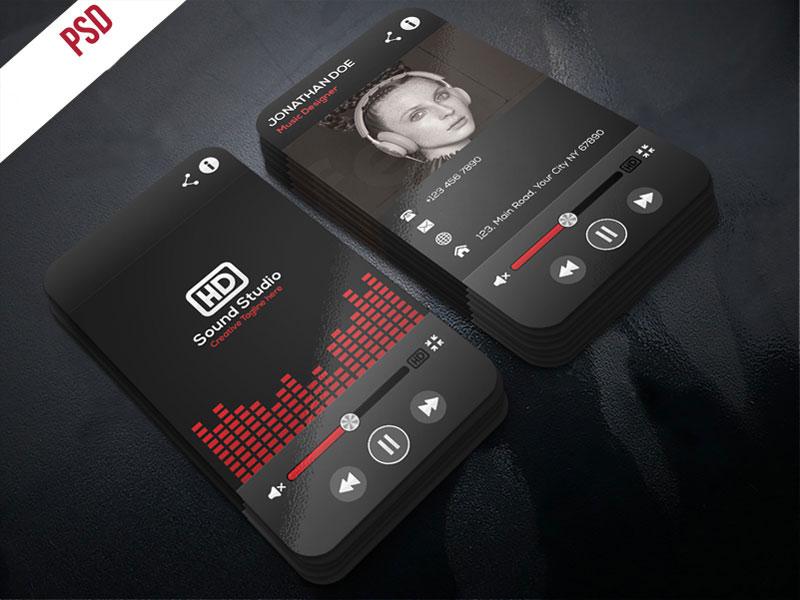 p480 - لایه باز کارت ویزیت استدیو ظبط صدا و موسیقی و آهنگ قرمز و مشکی بسیار زیبا بصورت ایستاده (عمودی)