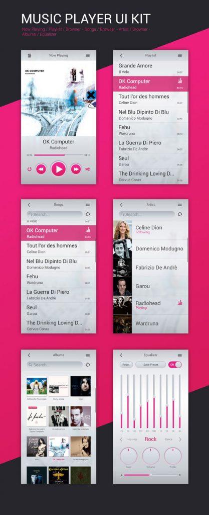 p494 417x1024 - گرافیک اپلیکیشن پخش موسیقی با آیکون های تنظیم صدا / اینترفیس UX و UI موبایل اندورید و ios با آیکون های کاربردی و متنوع