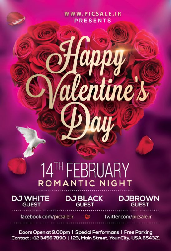 p499 548x806 - لایه باز کارت هدیه روز عشق با گل های رز بسیار زیبا به شکل قلب عاشقانه ویژه روز ولنتاین گل فروشی ها