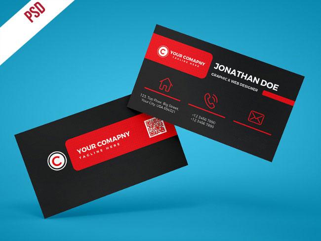p506 - لایه باز کارت ویزیت خلاقانه قرمز و مشکی بسیار زیبا شیک و ساده بصورت افقی