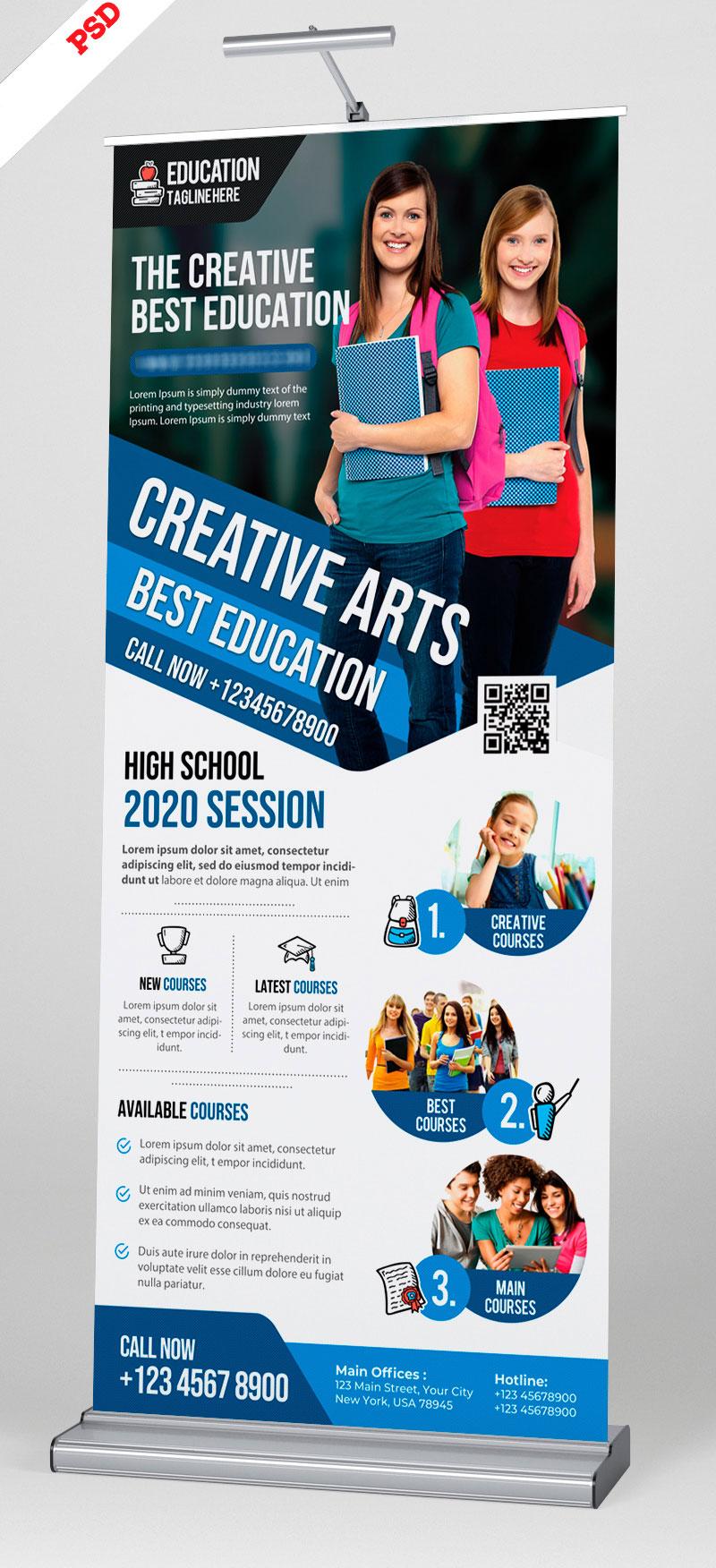 p509 - طرح آماده استند بنر معرفی خدمات آموزشی و محصولات شرکت های تجاری اقتصادی و دوره های تحصیلی دانشگاهی