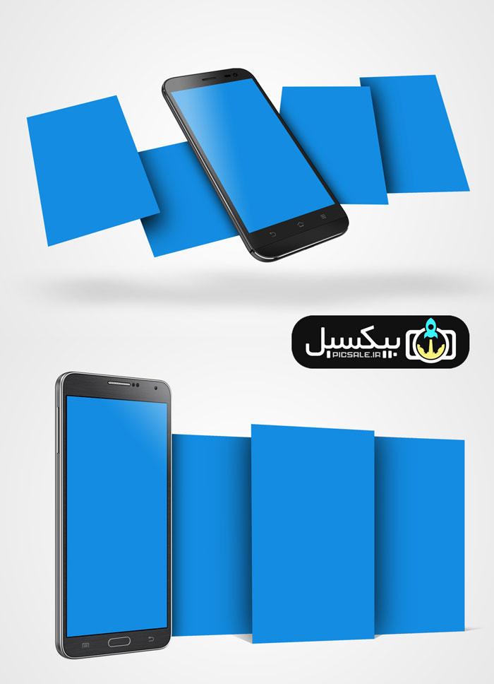 p510 - موکاپ موبایل معرفی اپلیکیشن روی گوشی همراه بصورت چند صفحه ای و سه بعدی بسیار زیبا و کاربردی