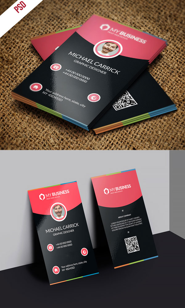p538 - لایه باز کارت ویزیت مدرن مشکی قرمز زیبا خلاقانه با امکان درج عکس پرسنلی