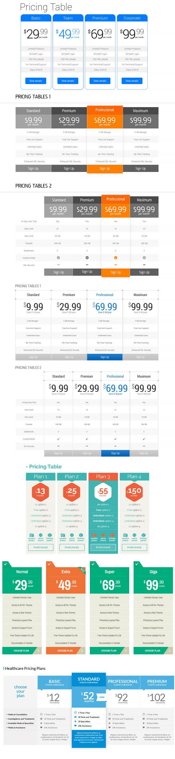 p540 - لایه باز پلن های نمایش هاستینگ یا دیگر خدمات اینترنتی با گزینه های مختلف / 8 مدل متنوع