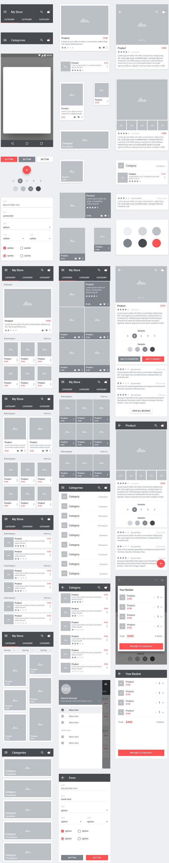 p554 - طرح آماده لایه باز اپلیکیشن فروشگاه، گالری تصاویر در بستر شبکه اجتماعی فوق العاده زیبا