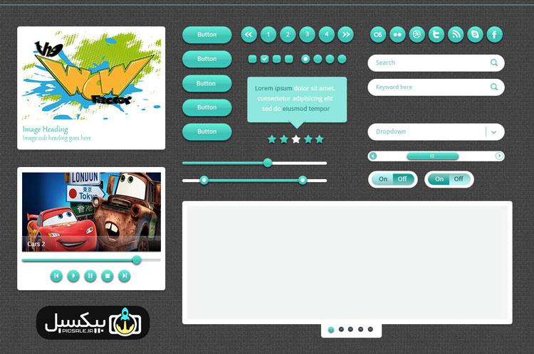 p559 - لایه باز آبجکت های گرافیکی وب اپلیکیشن پخش موسیقی و اسلایدشو گالری