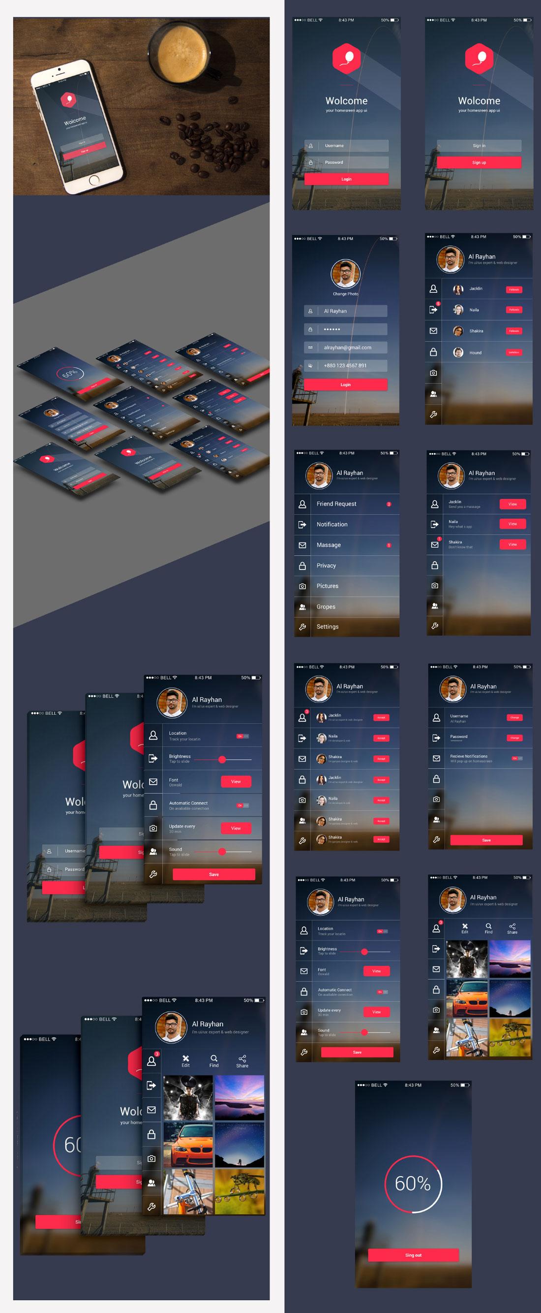 p563 - لایه باز رابط کاربری شبکه اجتماعی فوق العاده زیبا / اینترفیس اپلیکیشن UX و UI موبایل اندورید و ios با صفحات کاربردی و متنوع