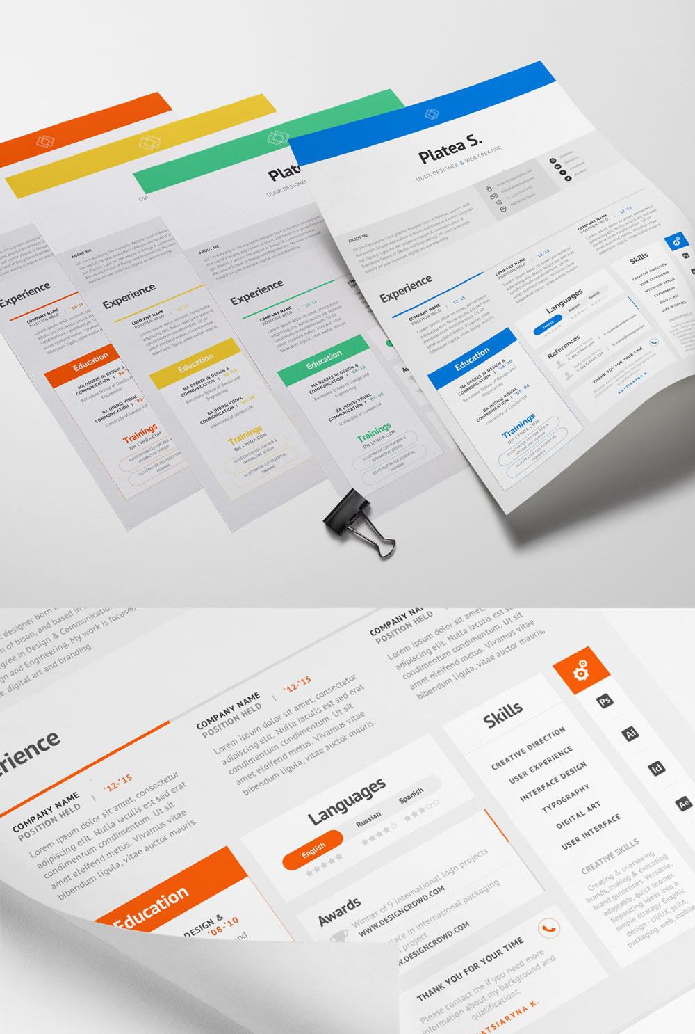 p575 - لایه باز CV رزومه فردی رسمی با بخش های مختلف جهت معرفی توانمندی ها با رنگ های متنوع
