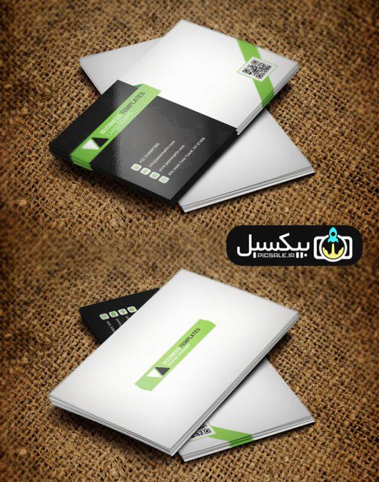 p580 548x697 - قالب لایه باز کارت ویزیت مدرن مشکی سبز و سفید بسیار زیبا و خلاقانه