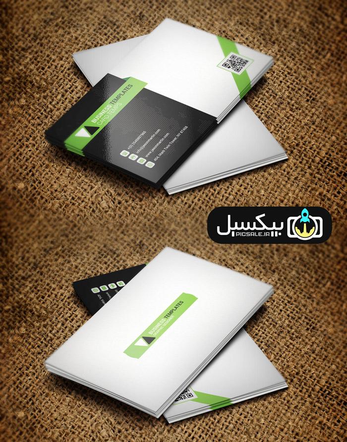 p580 - قالب لایه باز کارت ویزیت مدرن مشکی سبز و سفید بسیار زیبا و خلاقانه