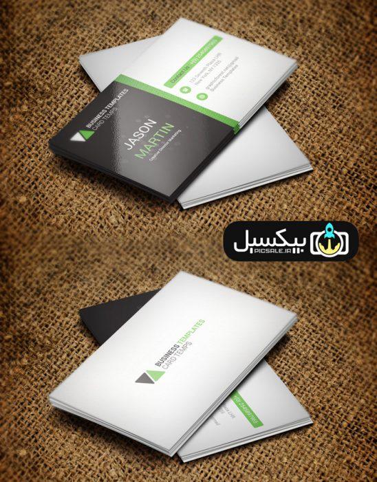 p585 548x701 - طرح آماده لایه باز کارت ویزیت شرکتی مدرن مشکی سبز و سفید بسیار زیبا و خلاقانه