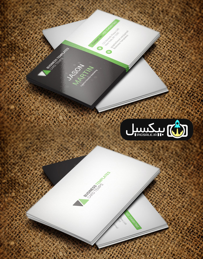 p585 - طرح آماده لایه باز کارت ویزیت شرکتی مدرن مشکی سبز و سفید بسیار زیبا و خلاقانه