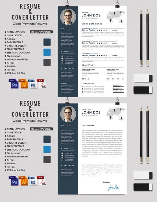 p590 548x702 - قالب آماده CV رزومه حرفه ای با بخش های مختلف جهت معرفی توانمندی ها با دو طرح رزومه و سربرگ نامه