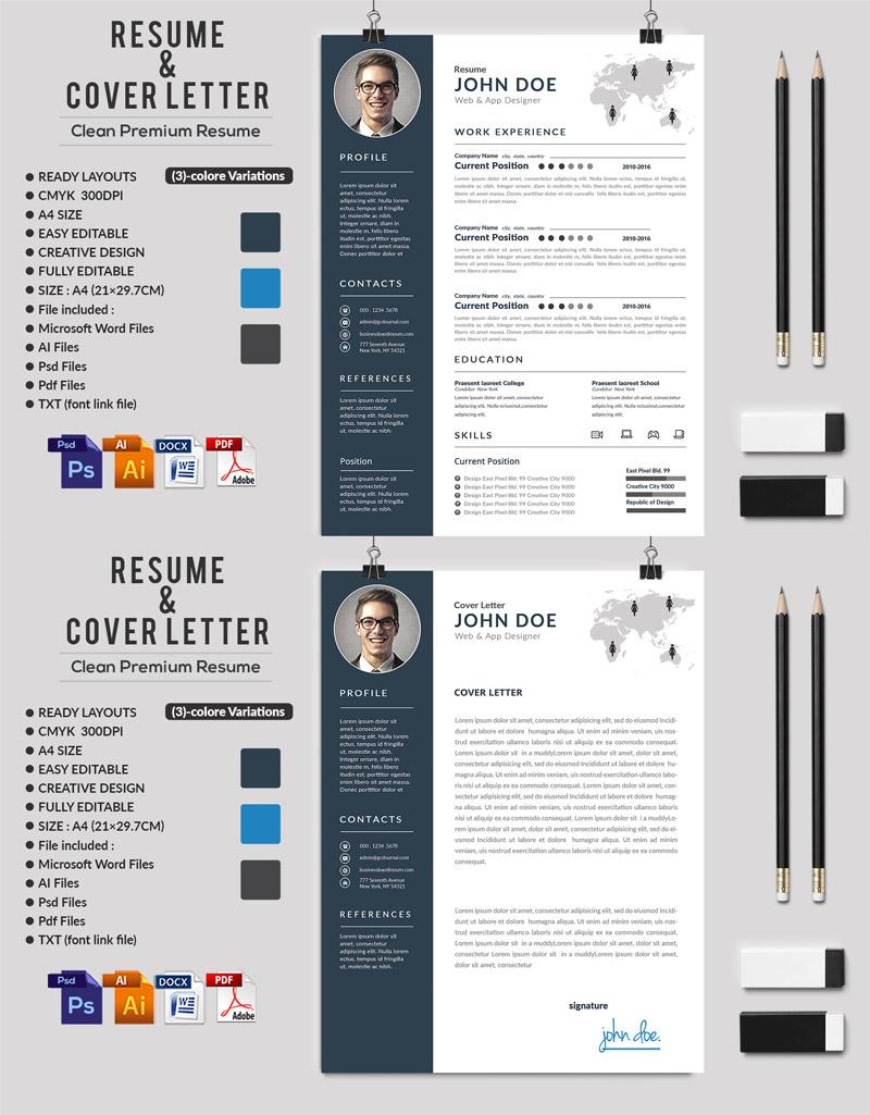 p590 - قالب آماده CV رزومه حرفه ای با بخش های مختلف جهت معرفی توانمندی ها با دو طرح رزومه و سربرگ نامه