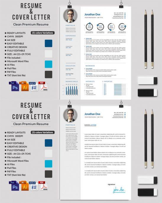 p591 548x685 - رزومه حرفه ای لایه باز همراه با بخش های مختلف جهت معرفی توانمندی ها با دو طرح رزومه و سربرگ نامه