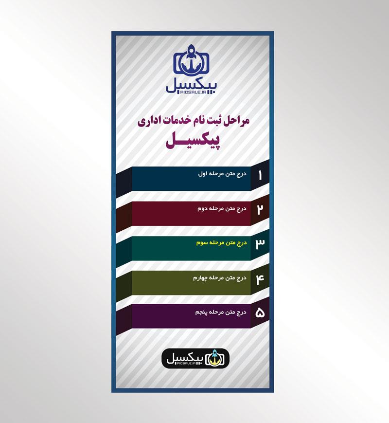 p609 - لایه باز استند راهنمای مراحل ثبت نام انتخابات یا کلاس های آموزشی همایش